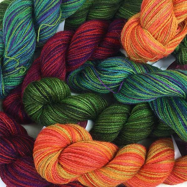 Lace Colour Pack in artesano hand painted alpaca silk lace yarn for Christmas #lace #silk #colourpacks #lacey #knitting #crochet #weaving #weave #felting #alpaca #yarn #wool #alpacasilk #knit #christmas #handpainted #variegated #spacedyed #handdyed #handdying #handdye