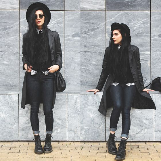 Vintage Leather Coat, Young Hungry Free Gingham Check Shirt, Mango Chunky Cableknit Jumper, Asos Jeans, Dr. Martens Boots