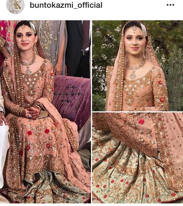 Pistachi green bridal gharara By Bunto Kazmi Couture, Pakistan