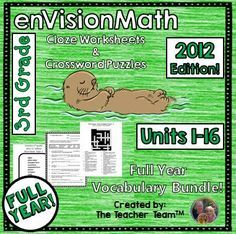 enVision Math 3rd Grade 2012 Cloze & Crossword Puzzle Vocabulary Bundle : This bundle contains third grade CLOZE (fill in the blank) worksheets and Crossword Puzzles to teach, re-teach, practice, or assess vocabulary in the third grade enVision Math Common Core 2012 chapters 1 - 16. $