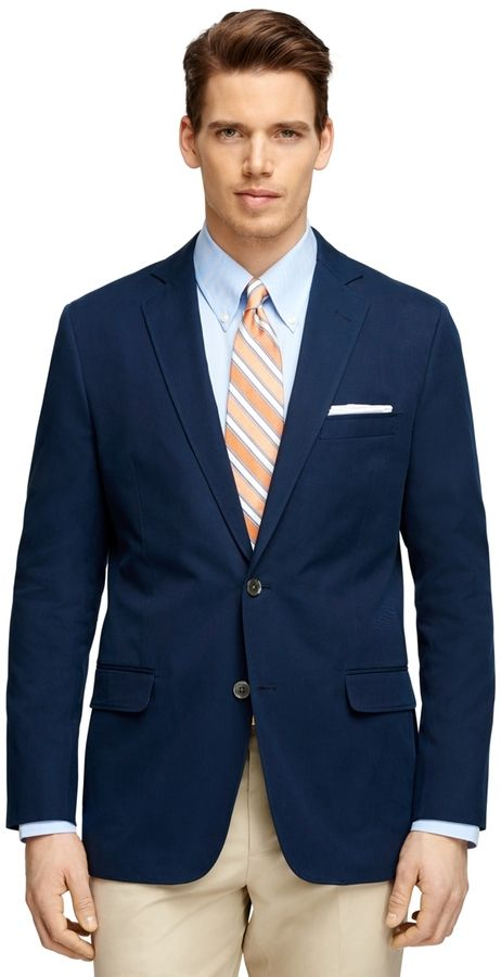 $398, Brooks Brothers Fitzgerald Fit Two Button Cotton Blazer. Sold by Brooks Brothers. Click for more info: https://lookastic.com/men/shop_items/252351/redirect