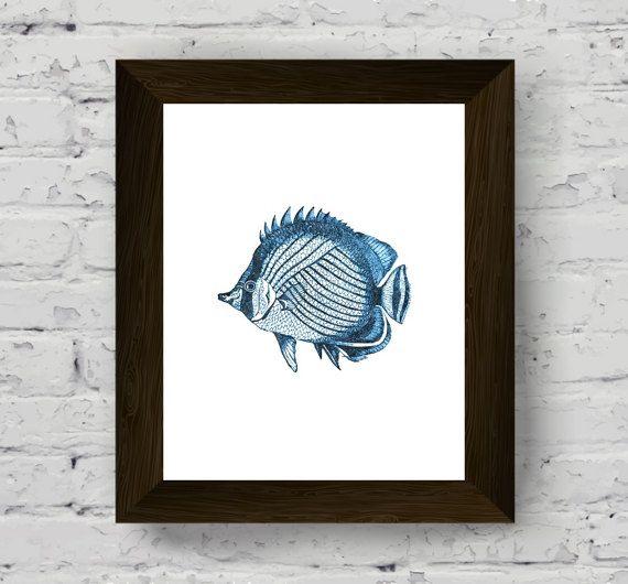 coastal wall decor, nautical print, fish watercolor, home style, printable artwork, instant digital download