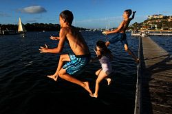 TWA-0061430 © WestPix Summer Days in Perth: The Bicton Baths, Swan River.  Pic: Michael Wilson.