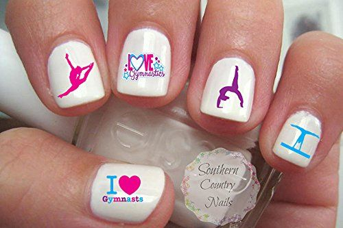 Giving manicures with these gymnastics nail decals would be a great activity to do during a gymnastics party