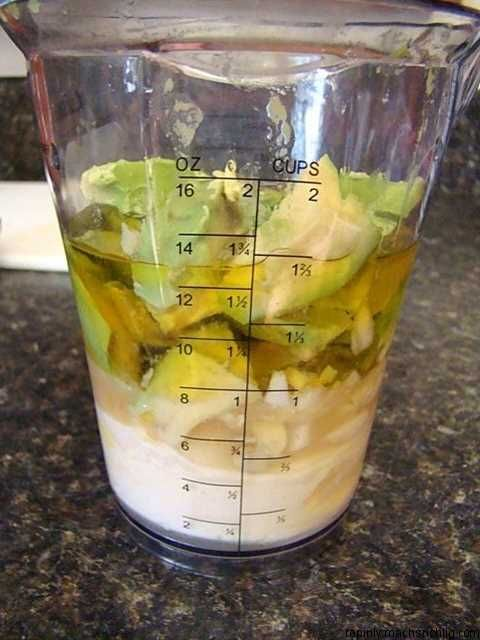 Avocado dressing to replace ranch! 1 large avocado 2 teaspoons fresh lemon juice use1/2 cup so delicious dairy free yogurt 1 teaspoon hot sauce 1/4 extra virgin olive oil 2 garlic cloves 3/4 teaspoon salt