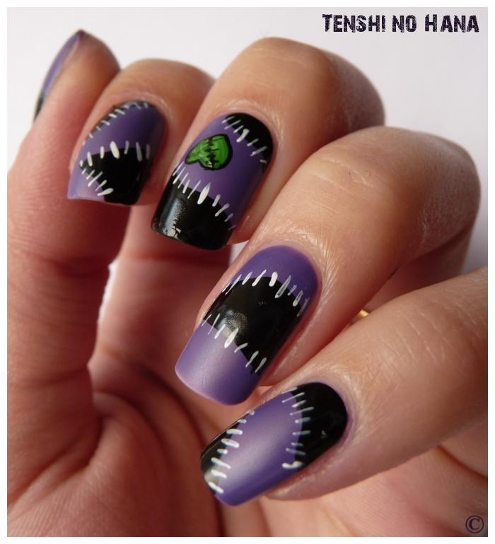 Purple and Black Halloween Nails