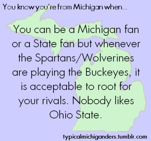 you know you're from Michigan when ... You can be a Michigan fan or a State fan but whenever the Spartans/Wolverines are playing the Buckeyes, it is acceptable to root for your rivals. Nobody likes Ohio State.