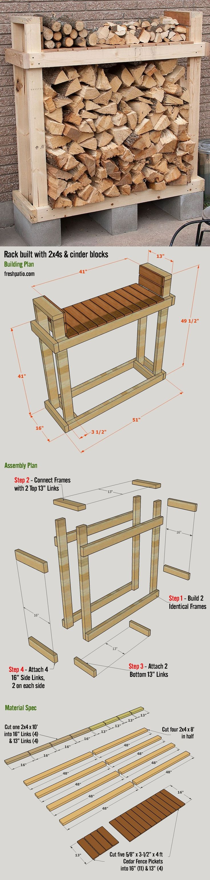 Shed Plans - Free Firewood Rack Plan - build it for $42 (including lumber, Cinder blocks and screws), with a top shelf. Now You Can Build ANY Shed In A Weekend Even If You've Zero Woodworking Experience!