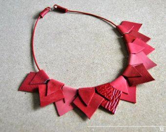 Declaración geométrica collar collar collar de cuero por byUna