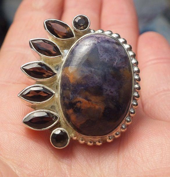 5 grote half edelsteen ringen Rhodochrosiet Agaat Granaat Jaspis Rookkwarts