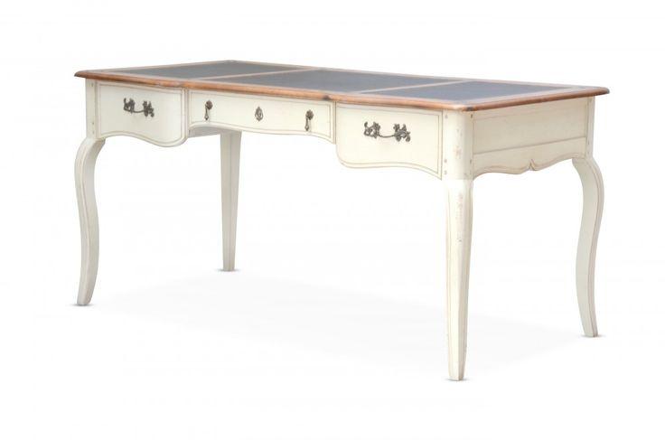 Schreibtisch vintage  Schreibtisch Vintage - Birke massiv - Antik-Look - weiß lackiert ...