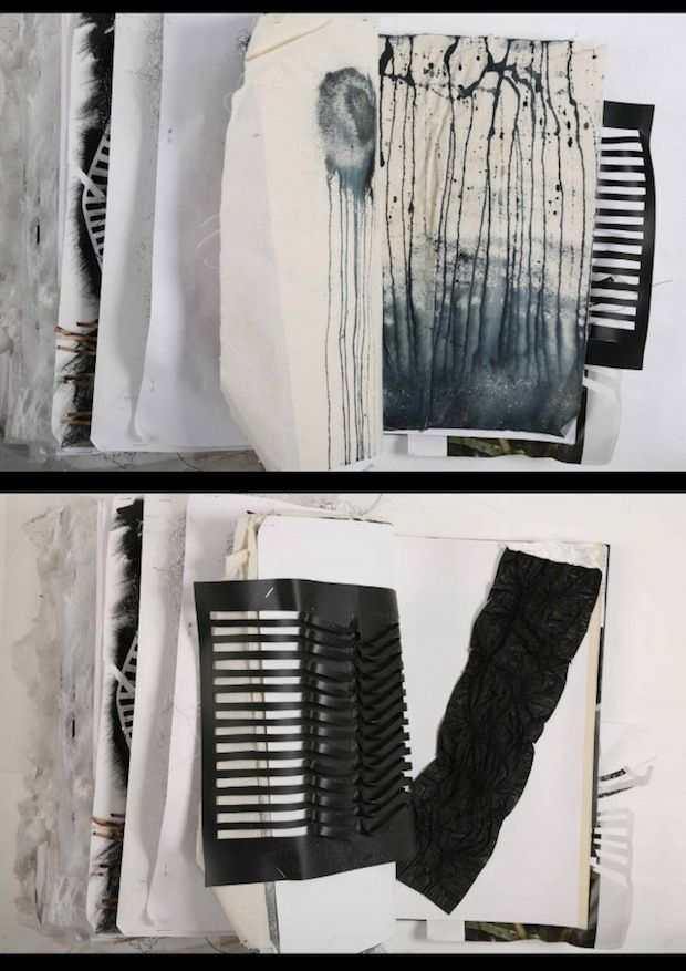 Fashion Sketchbook - fashion design development with fabric samples; creative fashion portfolio // Ania Leike
