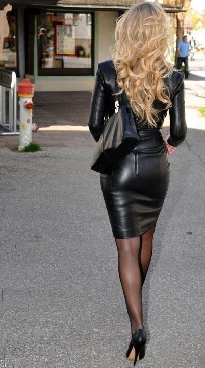 Black Leather Skirt Suit Sheer Black Pantyhose and Black High Heels