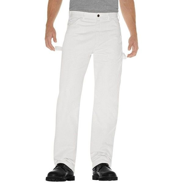 Men's Dickies Relaxed-Fit Straight-Leg Painter Pants ($26) ❤ liked on Polyvore featuring men's fashion, men's clothing, men's pants, men's casual pants, white, mens pants, mens white cotton pants, mens cotton pants, mens white pants and mens straight leg cargo pants