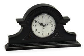 Black Mantel Clock - Take a step back in time with this antique style mantel clock with black distressed finish.Shipping by mail   #dreamlivingroom