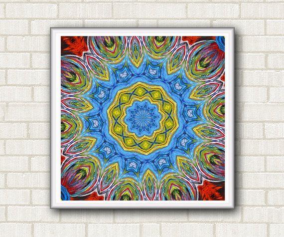 "Digital mandala paper. Instant download. Wall decor print and gift ideas. Energy healing mandala stamp 7.50"" x 7.50"" Red yellow blue by DreamingMandalas #mandala #mandalastamp #kaleidoscope #homewalldecor #mandalaprintable #mandaladigital #giftideas"