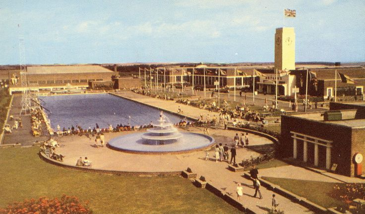The Outdoor Pool at Butlin's Filey Holiday Camp in c.1948,  before construction of the Heated Indoor Pool...