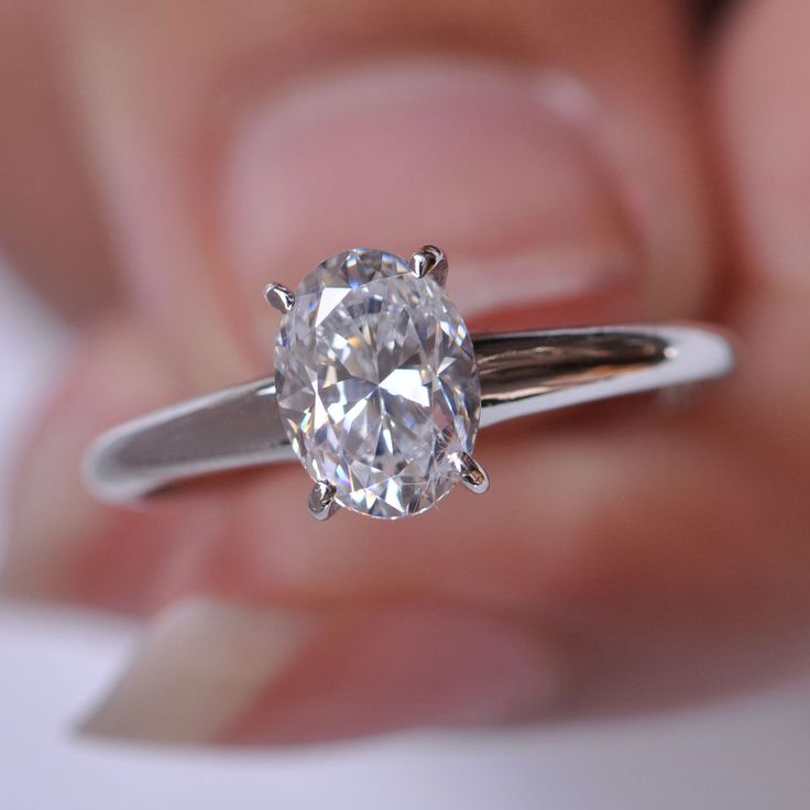 Awesome Oval Shape D/VVS1 1.40 Carat Solid 14k White Gold Wedding Ring #Uniquegemstone17 #Solitaire
