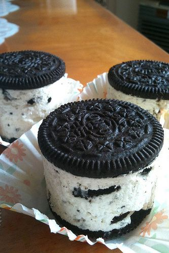 Packaged between two Oreos, mini no-bake cheesecake is creamy and sweet with some cookie crumble mixed in for extra crunch.