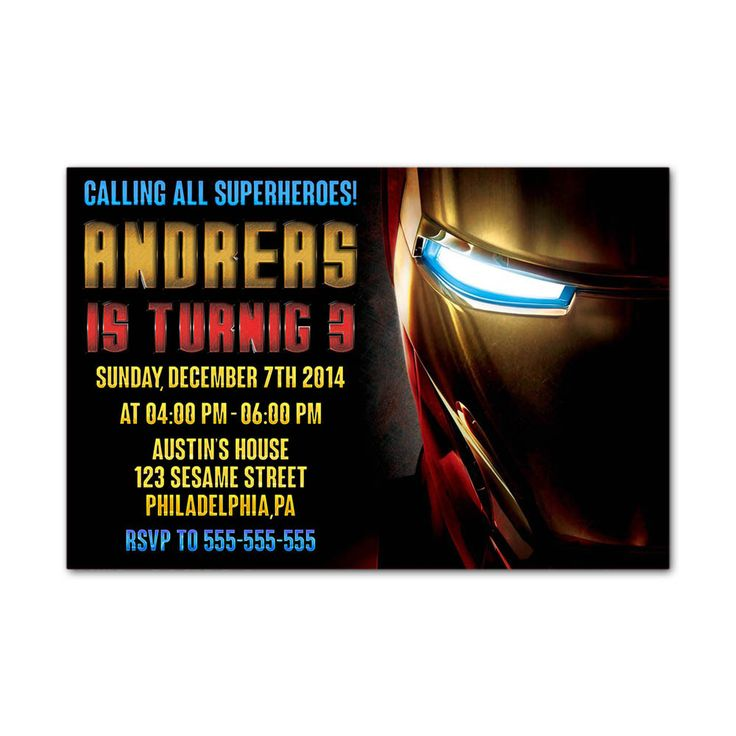 Iron Man Half Head Kids Birthday Invitation Party Design