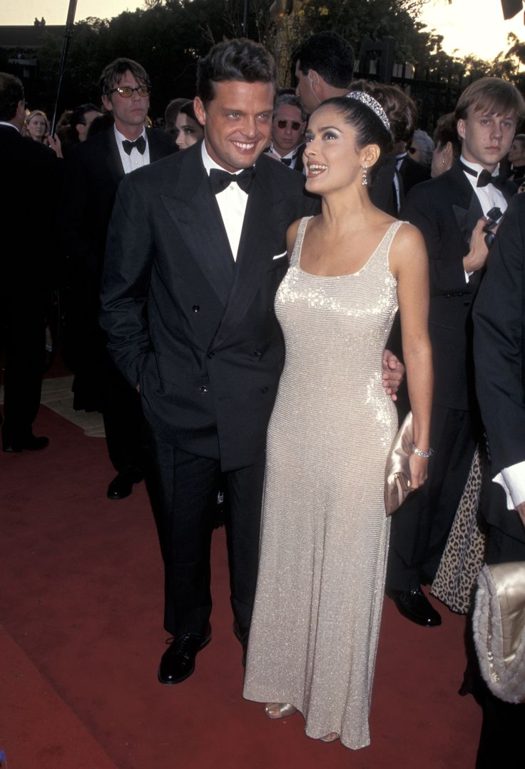 Salma Hayek at the 1997 Academy Awards: Salma Hayek's first-ever Oscars was in 1997; she wore a tiara and a shimmery gown.
