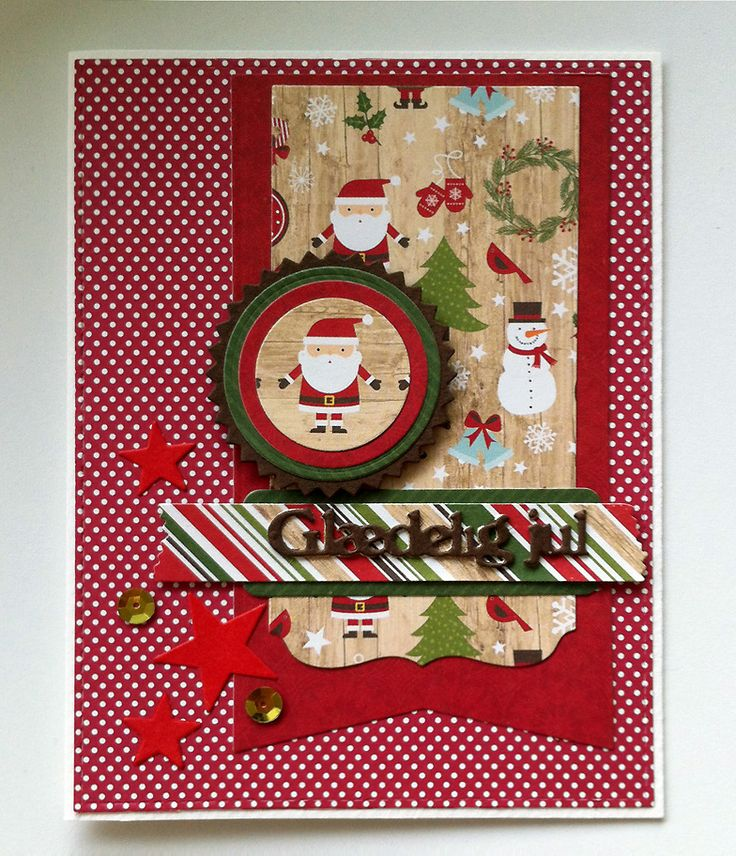 Card christmas santa MFT Blueprints 13 Die-namics, stars, sequins, CREAlies scripty glædelig jul, Echo Park I love Christmas paper collection - kort jul julekort - Karte Weihnachten - JKE