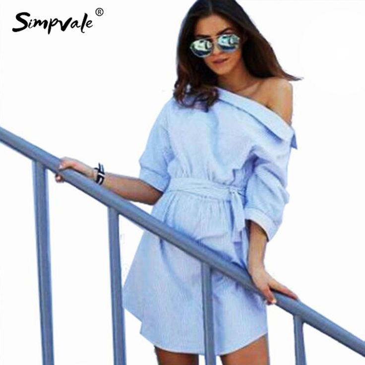 >> Click to Buy << SIMPVALE Bare Shoulder Blue Striped Dress Woman Shirt Secy Side Split Elegant Half Sleeve Waistband OL Girls Beach Dresses #Affiliate