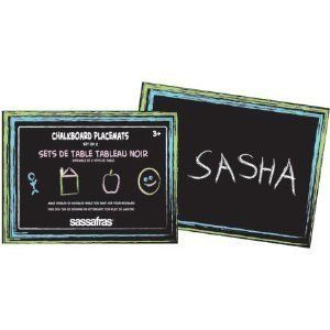 """Chalkboard Placemat Set by Sassafras. $10.99. Size: 12"""" x 16"""". Set of 2 placemats with 3 pieces of chalk. Keep kids busy while the food is being prepared. Inspire conversation and creativity right there at the dinner table with this set of two placements. Practice math facts or spelling words or just draw fun pictures. Includes two placemats and three pieces of chalk. Placemats are a generous 12 x 16 inches. Chalkboard Placemats Write on chalkboard placemats Promote conv..."""