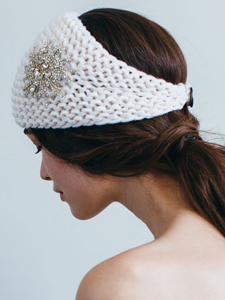 Classic winter white is the perfect luxurious color for winter. The crystal embellishment on the Jennifer Behr Starburst Kerchief adds a pop of glamour to the everyday headband.