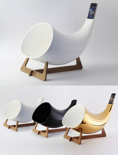Inspire Me Now: Passive Ceramics, Ipod Speakers, Iphone Horns Design, Ceramics Iphone, Megaphone Passive, Iphone Amplifierbi, Iphone Dock, Cool Speakers Iphone, Inspiration Me
