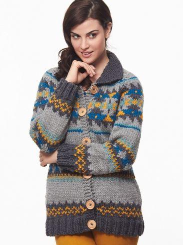 Cowichan Style Raglan Cardigan | Yarn | Free Knitting Patterns | Crochet Patterns | Yarnspirations