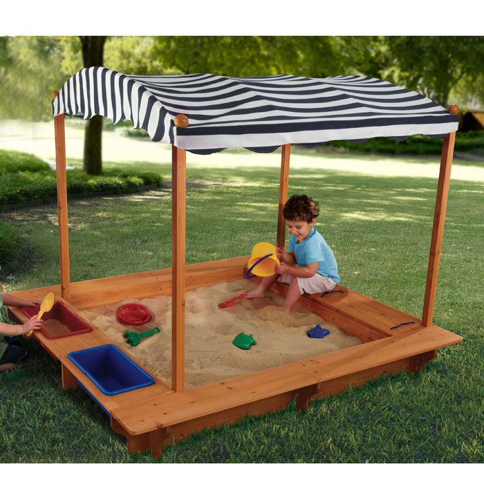 idea generator for outdoor sandbox with canopy like the idea of potential portability and sinks - Sandbox Design Ideas