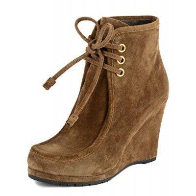 Prada Boots Cinnamon Suede Lace Up Wedge Heel Ankle Booties IT 40 US 9