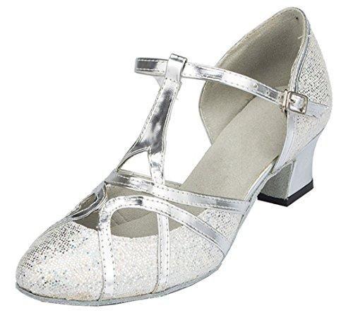 Oferta: 21.04€. Comprar Ofertas de F & M piel sintética para mujer Mid tacón Salsa Tango salón de baile zapatos de baile latino Party CM101, color plateado, tal barato. ¡Mira las ofertas!