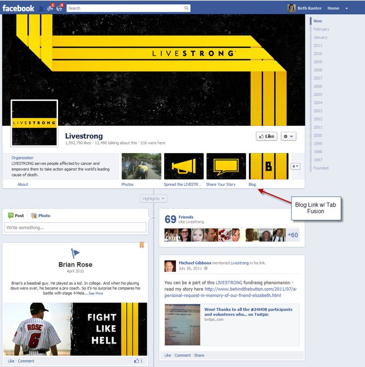https://www.facebook.com/livestrong  Simple look.  Blog is linked using Tabfusion app. (It's free)Tabfus App, Cheat Sheets, Beth Blog, Link, Facebook Timeline, Facebook Method, Free Method, Www Facebook Com, Livestrong Facebook