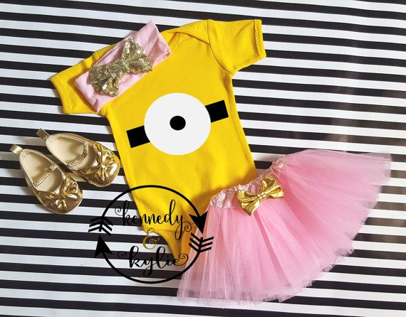 Pink Minion Tutu Outfit Baby Girl Minion Girl by kennedyandkylie