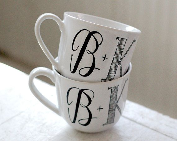 Hand lettered mugs, $40 for 2: Gifts Ideas, Grooms Gifts, Anniversaries Gifts, Diy Wedding Favors Coffee Mugs, Custom Black, Monograms Initials, Personalized Mugs, Bold Fonts, Wedding Gifts
