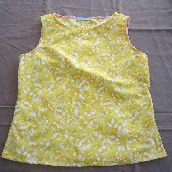 Sunny Yellow Cotton Blouse Top Sleeveless Summer by byShoebridge