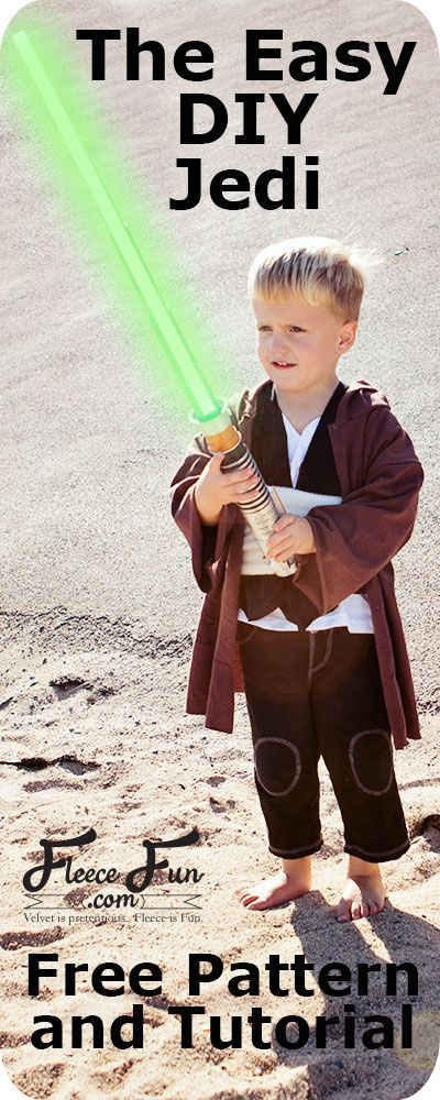 I love this easy to make DIY Jedi Knight inspired by Star Wars! This is perfect for dress up and Halloween. Love this easy to sew DIY idea. Easy Jedi DIY Costume Tutorial at Fleece Fun