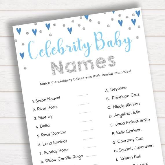 Blue Celebrity Baby Names Match Celebrity Babies Famous Babies Game Boy Baby Shower Games Guess Celebrity Baby Names Baby Names Baby Boy Shower