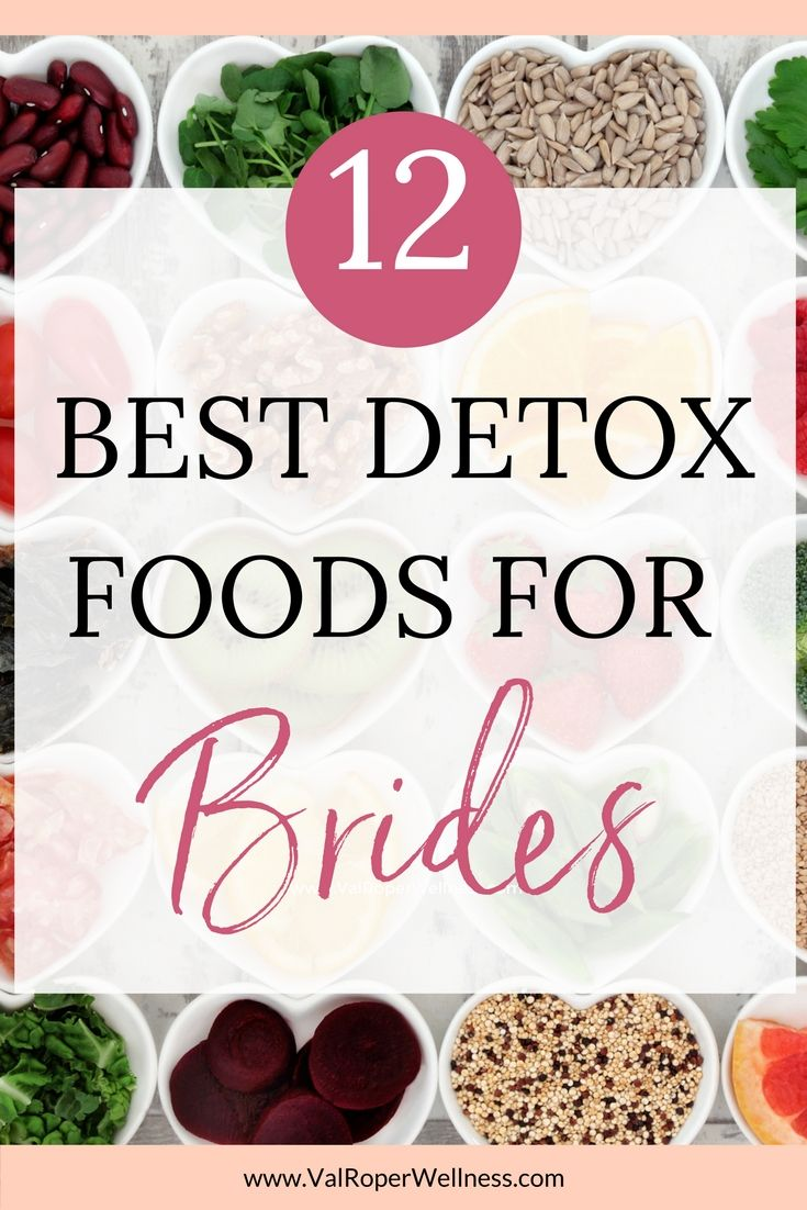 In part 2 of my detox series, I've listed 12 of the best detox foods for brides + some quick and easy ideas for getting these foods into your diet on a regular basis. These foods support your body's natural detoxification process, and here's what that can mean for you -- less bloating, easier weight loss, clearer skin, and more energy for your wedding day and honeymoon. Click the pin to get the list of foods that will have you feeling and looking better fast!
