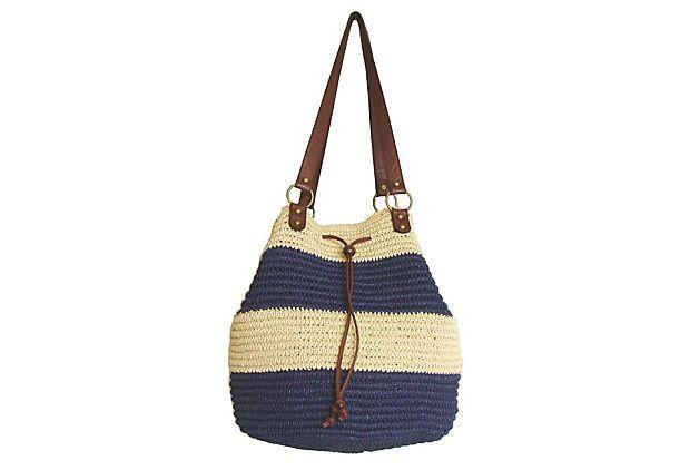 "Drawstring Bucket Bag, Navy on OneKingsLane.com. Paperstraw, 19""x13""x11""."