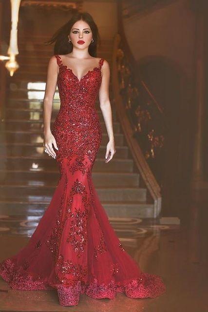 Pas cher Rouge sirène robes Robe De soirée 2016 nouvelle arrivée robes  formelles Glamorous Backless Appliques tribunal Train Robe De soirée,  Acheter Robes