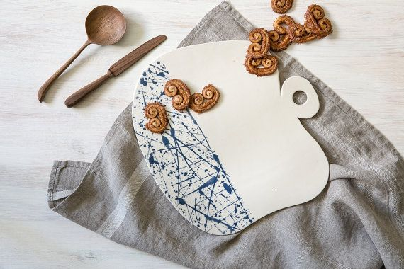 Ceramic cheese board, ceramic serving utensils, modern cutting board, blue splash serving plate, Decorative tray, appetizer serving tray .   this