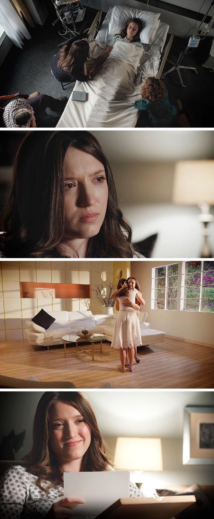 Família e amigos no hospital ao lado de uma jovem em fase terminal. Depois da morte dela, sua irmã encontra consolo por meditar na futura ressurreição