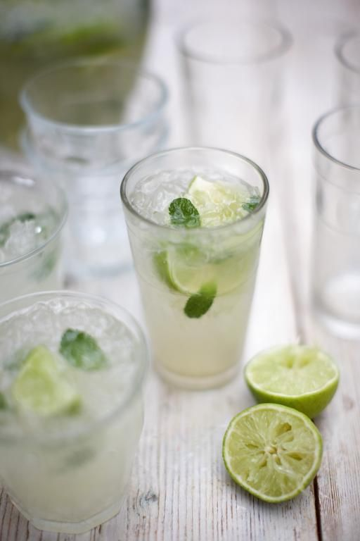 classic caipirinha | Jamie Oliver (Serves 8)  Ingredients: 5 limes. 12 tablespoons golden caster sugar. 2 cm fresh ginger, peeled and finely grated. 1 kg ice cubes, crushed. 70 cl Cachaça. 1 small bunch fresh mint, leaves picked.