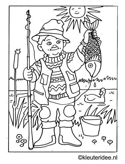 Kleurplaat Vissen Vangen Kleuteridee Nl Fishing Coloring Punch