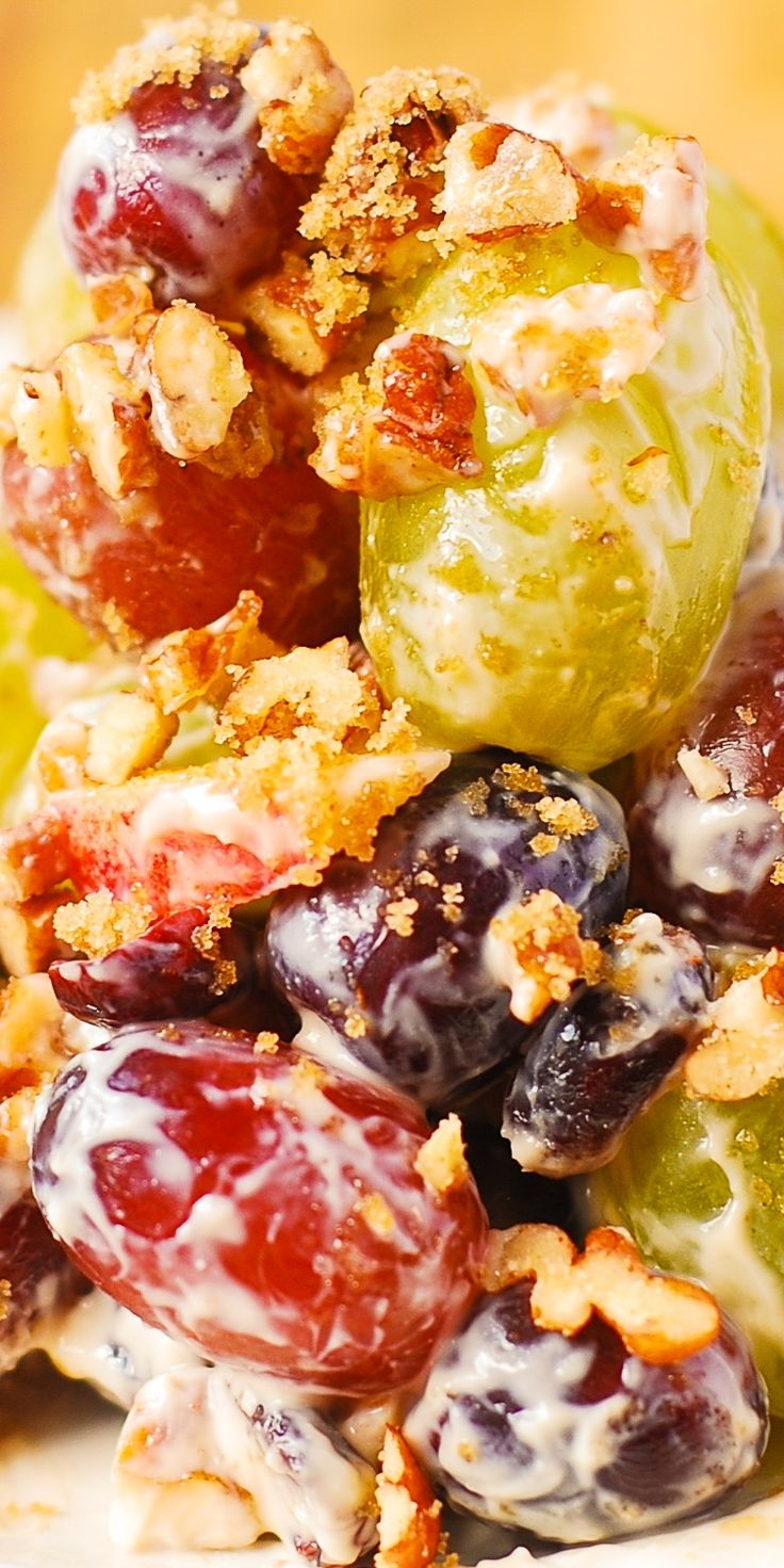 Creamy Vanilla Grape & Apple Salad with Cranberries and Pecans. Holiday, Thanksgiving, Christmas salad, side dish.