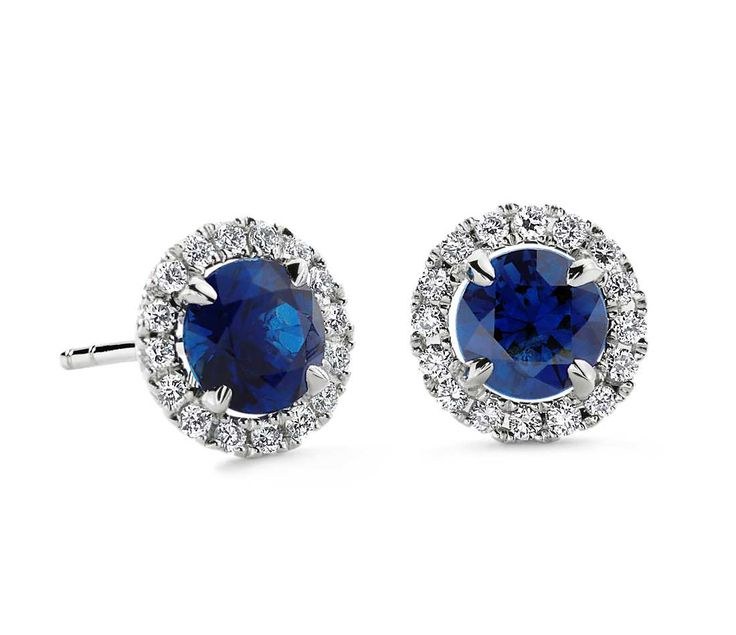Blue Nile Sapphire and Micropavé Diamond Earrings in 18k White Gold