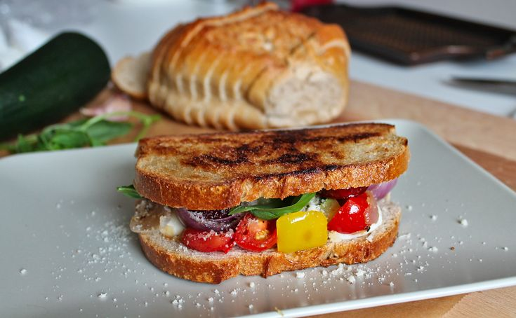 Grilled Mediterranean Sandwich with Grilled Vegetables and Chorizo